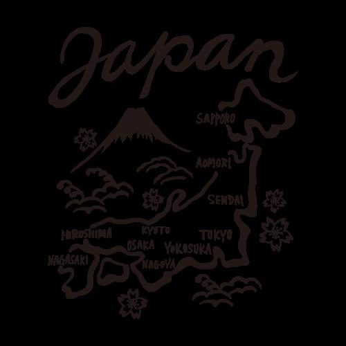 スカジャン(日本地図)モノクロ