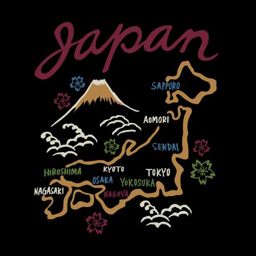 スカジャン(日本地図)