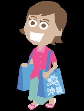 000367_お土産袋を持っている外国人女性