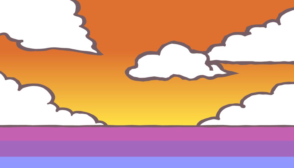夕方の海イラスト
