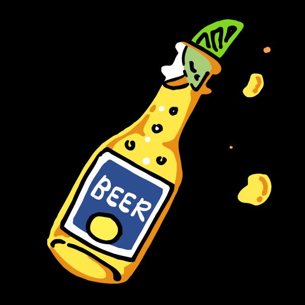 海外デザイン風瓶ビールイラスト