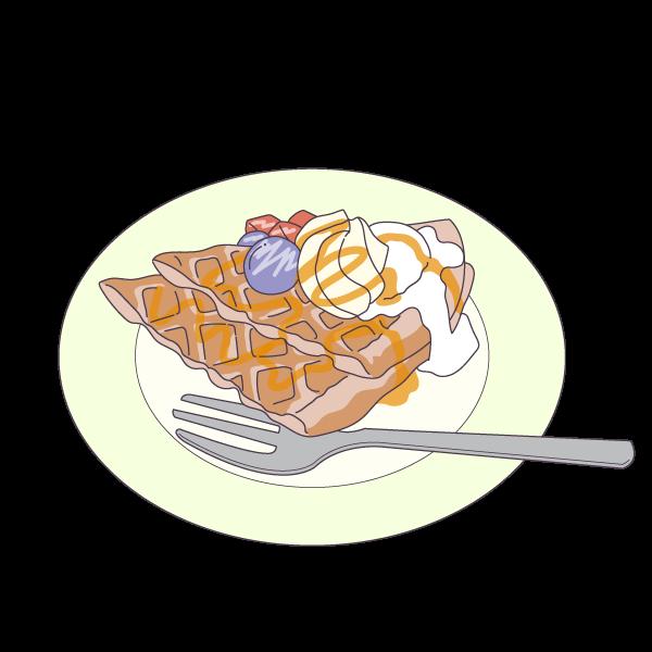 ワッフルパンケーキのイラスト